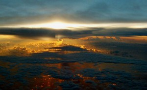 Sunset viewed from the air
