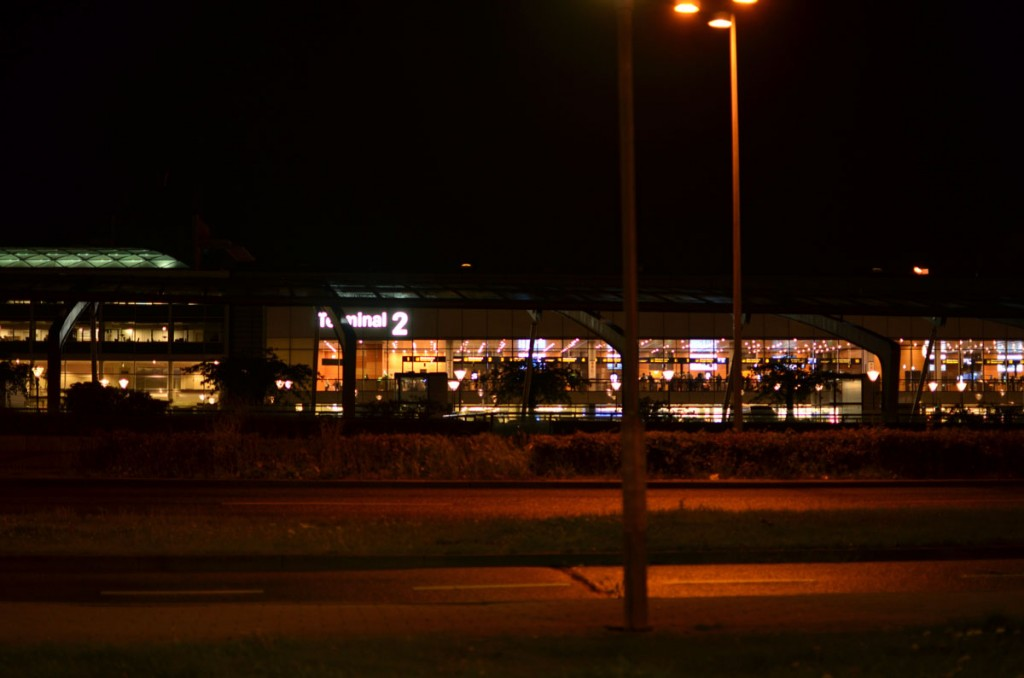 Airport terminal before dawn