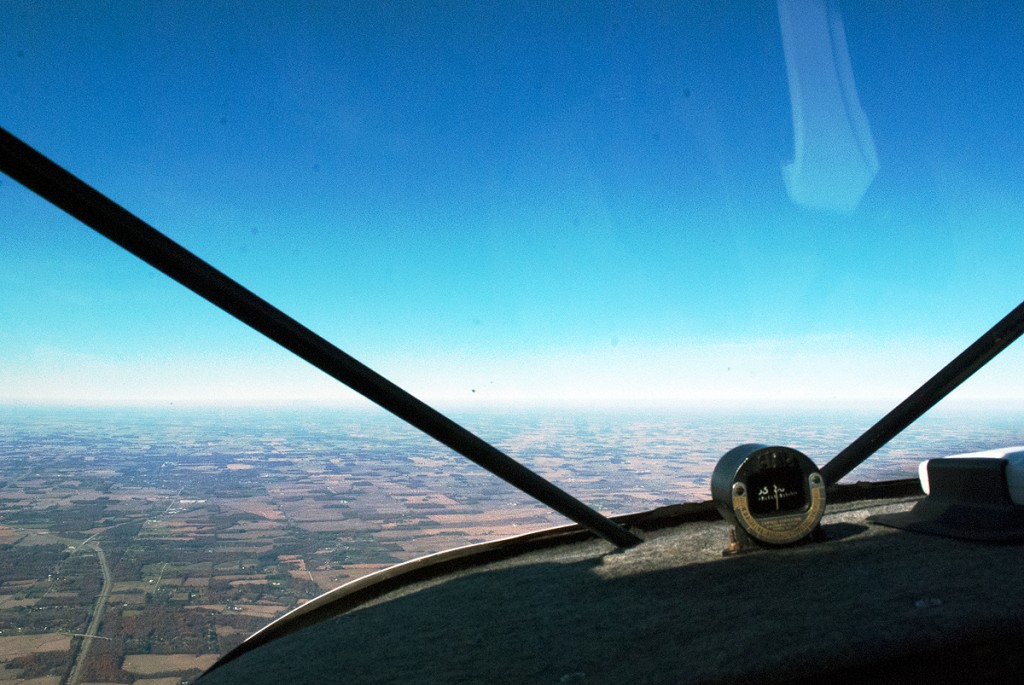 view from Piper Pacer cockpit in flight