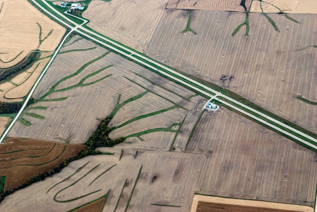 Aerial view of highway, road and creeks
