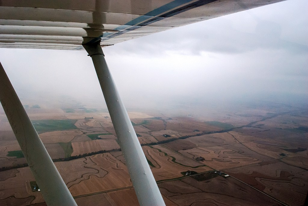 Aerial view of skirting rain showers