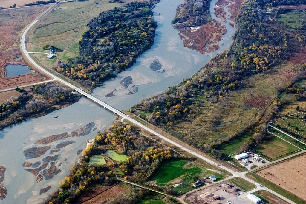 Aerial view of bridge crossing river