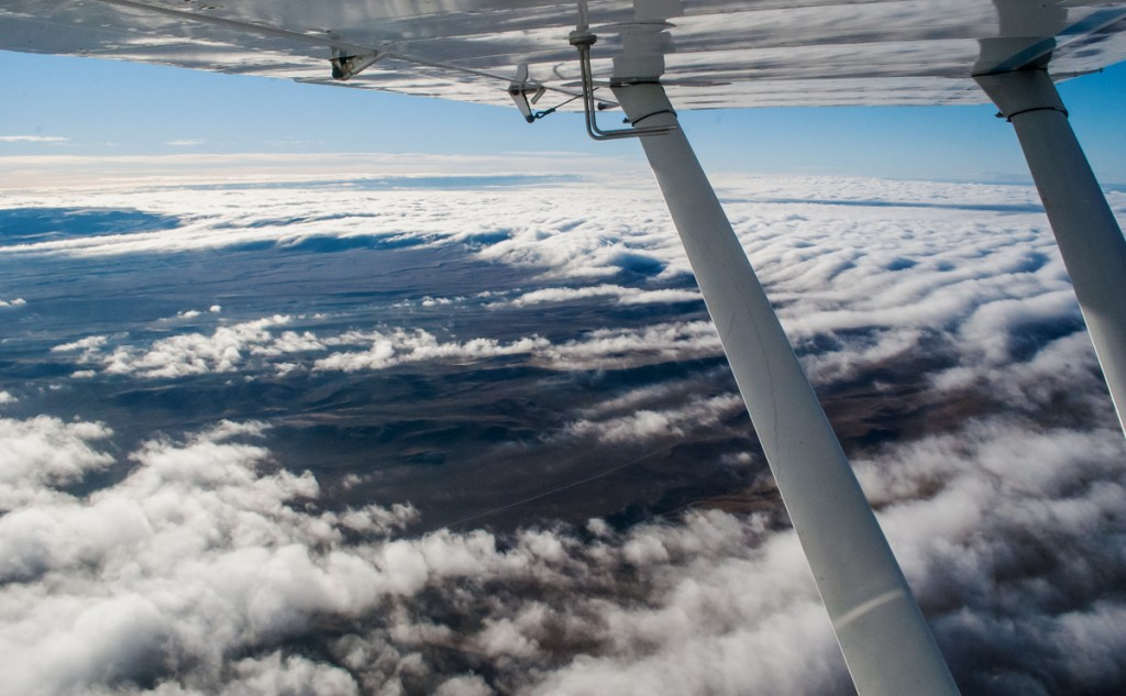 aerial view of clouds over western Wyoming