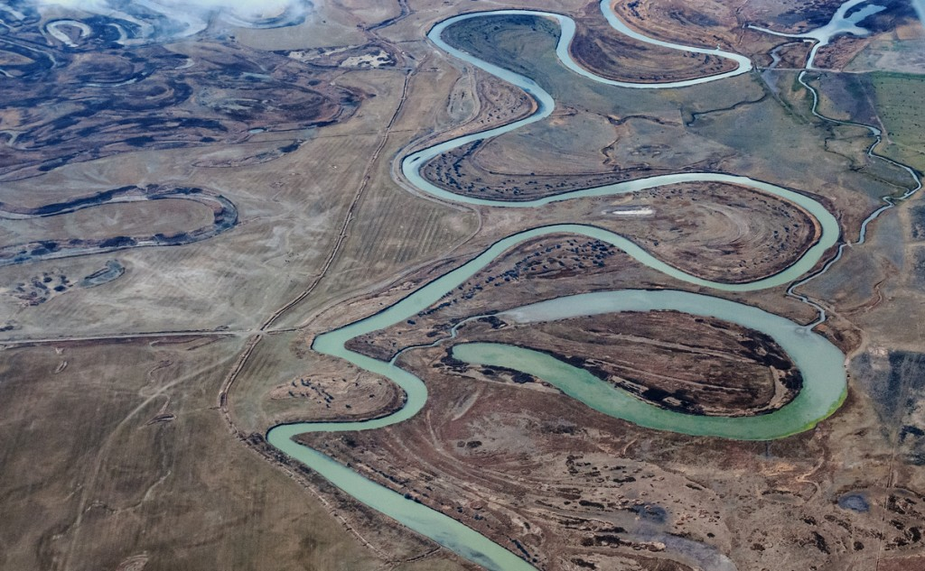 Aerial view of river ox-box