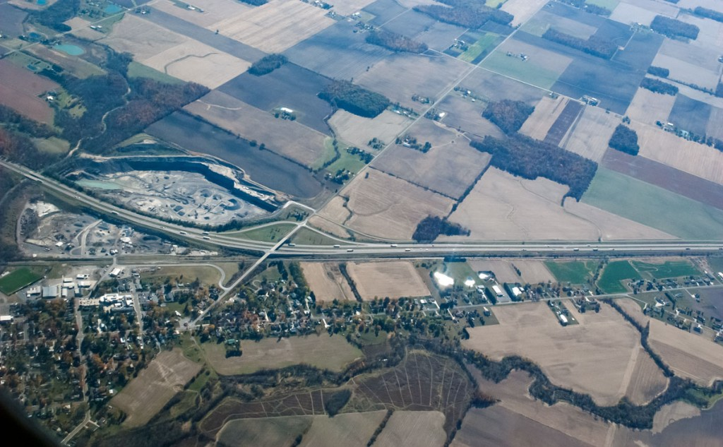 aerial view of small town and farm fields