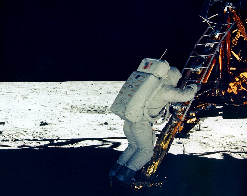 Buzz Aldrin stepped onto the Moon a few minutes later