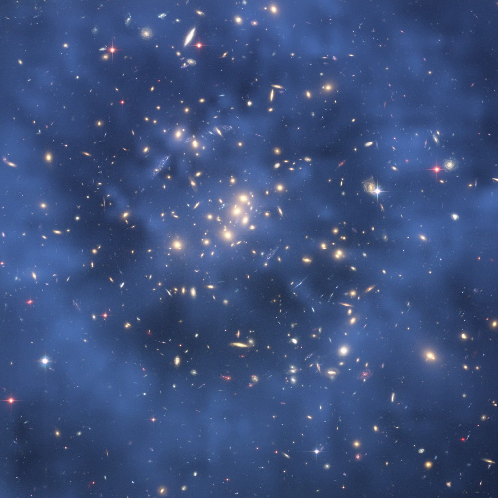 Galaxy cluster coded to show location of dark matter