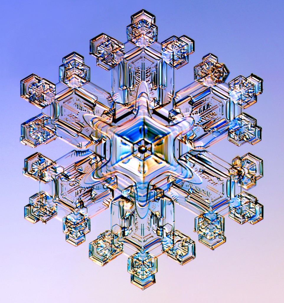 Close up of snow flake. Created or by chance?