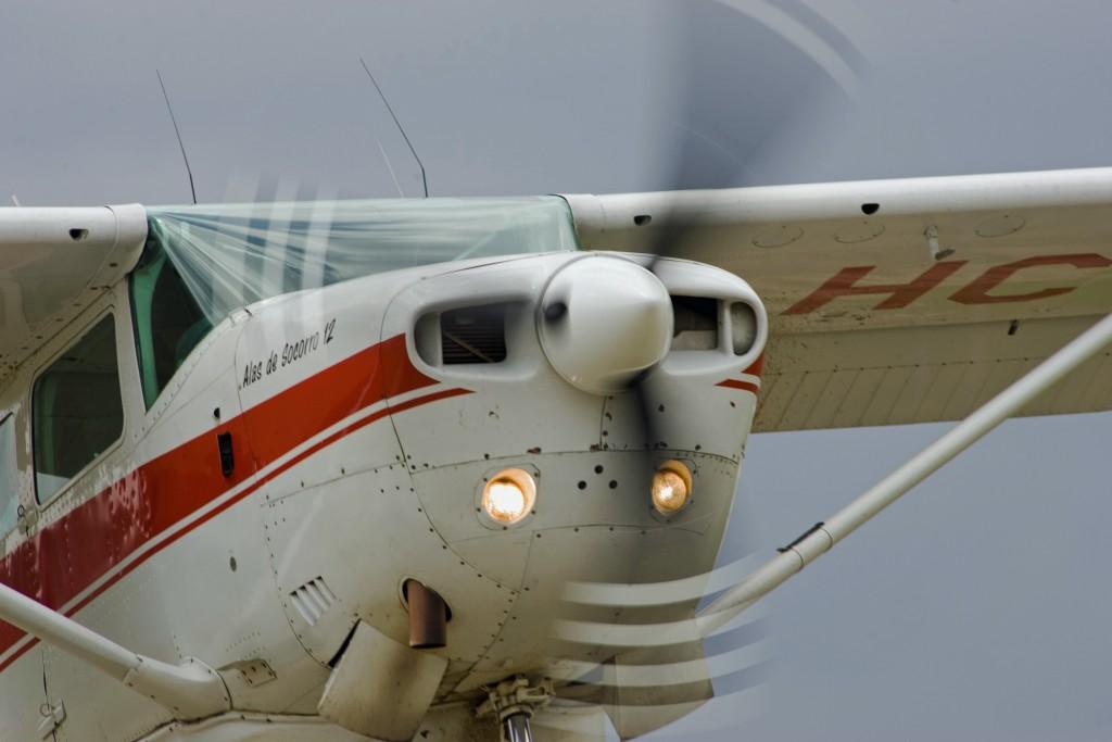 Aircraft propeller track visible takeoff