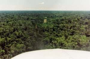 View of jungle airstrip from pilot's seat while landing