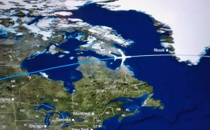 computer map of airliner flight path over canada