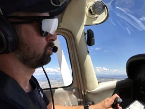 Pilot wears foggles to train focus on aircraft instruments