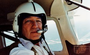 Aviation & Space Writer, James Rush Manley, in pilot's seat of a Cessna 206