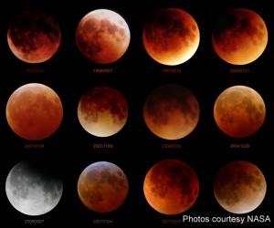 Sequence of lunar eclipse shots
