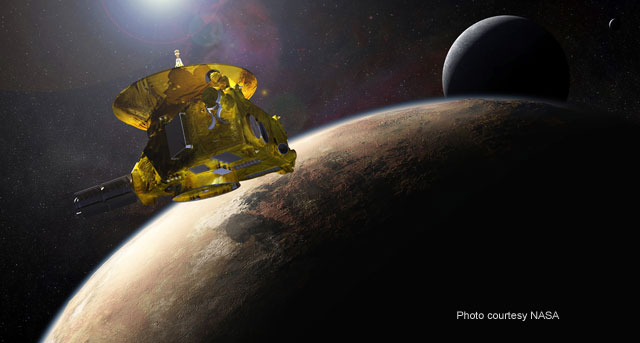 Artist visualization of New Horizons probe at Pluto