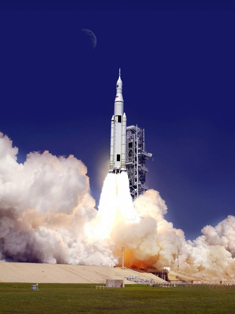 Spacecraft blasting off
