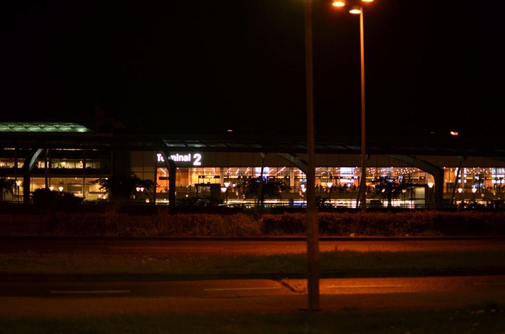 Airport terminal before dawn