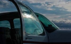 sunlight on open aircraft door