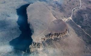 Looking down atop a desert mesa