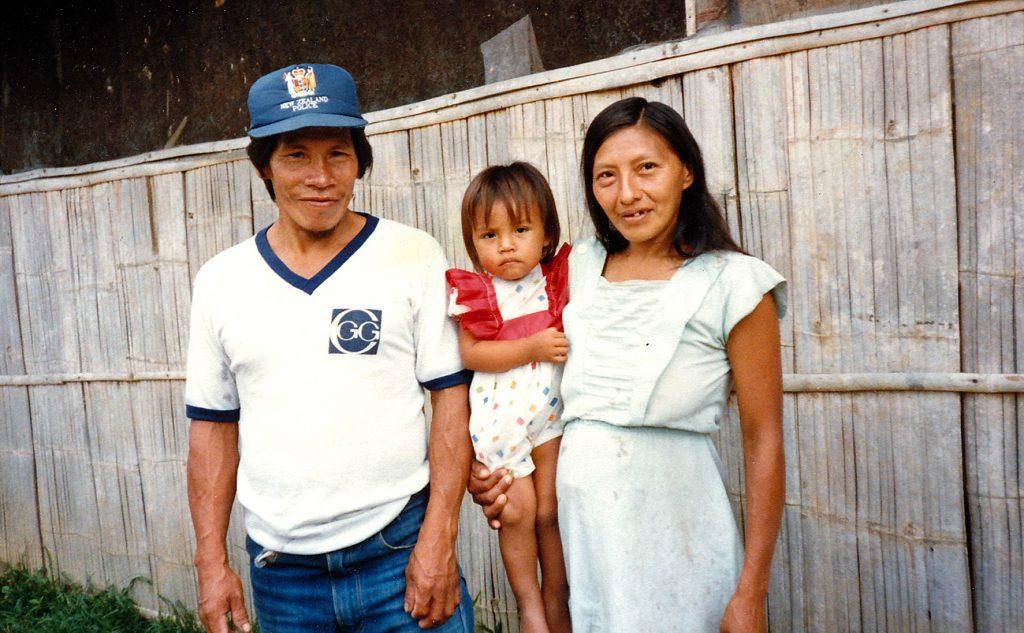 A Waorani couple in the village of Tiwaeno.