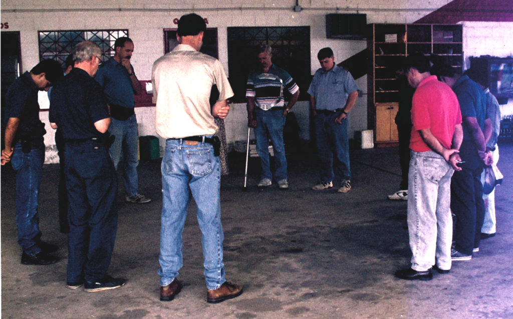 Our daily morning briefing in the hangar always included prayer.