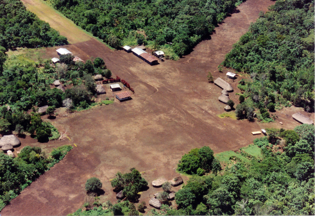 Shuar village of Surikentza. The old runway from upper right to lower left was no longer in use.