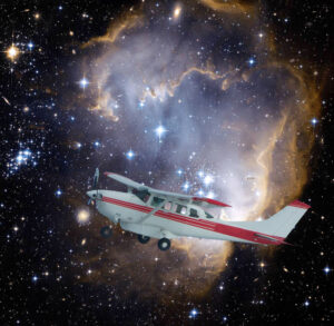 A Cessna 206 flying against a field of stars offers an adjusted perspective