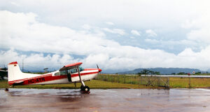 single-engine airplane on wet ramp challenges the pilot's choices